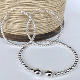 Sterling Silver Hoop Earrings made from Silver Balls 4.5cm / 1.75""