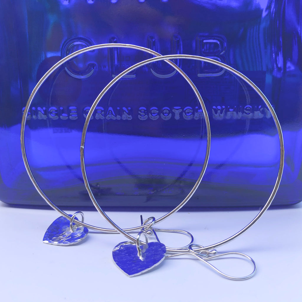 Extra Large Hoop Earrings with Hammered Sterling Silver Hearts