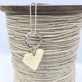 Long Sterling Silver Ball Chain Necklace with Hammered Golden Brass Heart 80cm / 31.5""
