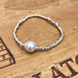 Thai Silver Stretch Bracelet with large Freshwater Pearl
