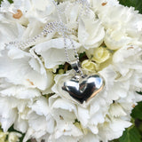 Sterling Silver Puff Heart on 80cm Long Sterling Silver Ball Chain