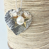 Large Sterling Silver Hammered Heart, Golden Star and Freshwater Pearl Statement Necklace 80cm