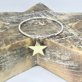 Chunky Hammered Silver Bangle with Brass Star Handmade