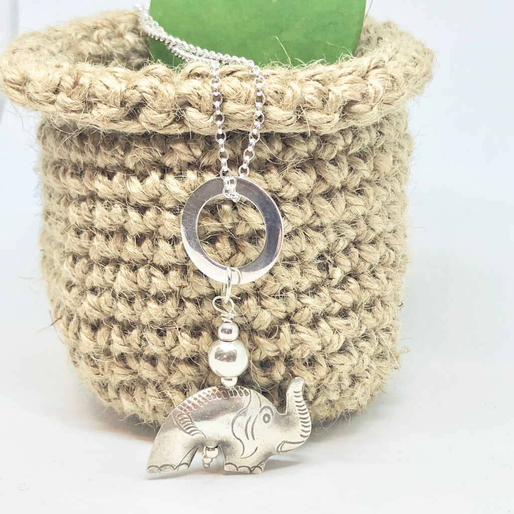 "Silver Elephant Necklace 50cm/20"" Sterling Silver Belcher Chain with Thai Elephant and Silver Circle"