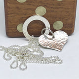 Long Sterling Silver Hammered Heart and Smooth Circle Pendant Necklace Handmade