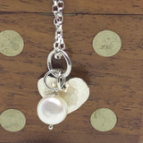 "Sterling Silver Heart and Pearl Pendant Necklace 50cm/ 20"" Belcher Chain"