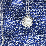 "Sterling Silver Hammered Disc and Pearl Pendant Necklace 50cm 20"" Chain"
