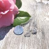 "Sterling Silver Hammered Disc Pendant Necklace 45cm 18"" Chain"