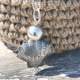 Silver Shell Pendant 80cm Long Chain Necklace with Sterling silver Orb