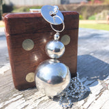 "Sterling Silver Orb Pendant Statement Necklace 80cm 32"" Ball Chain"