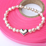Stretch Pearl and Sterling Silver Heart Bracelet