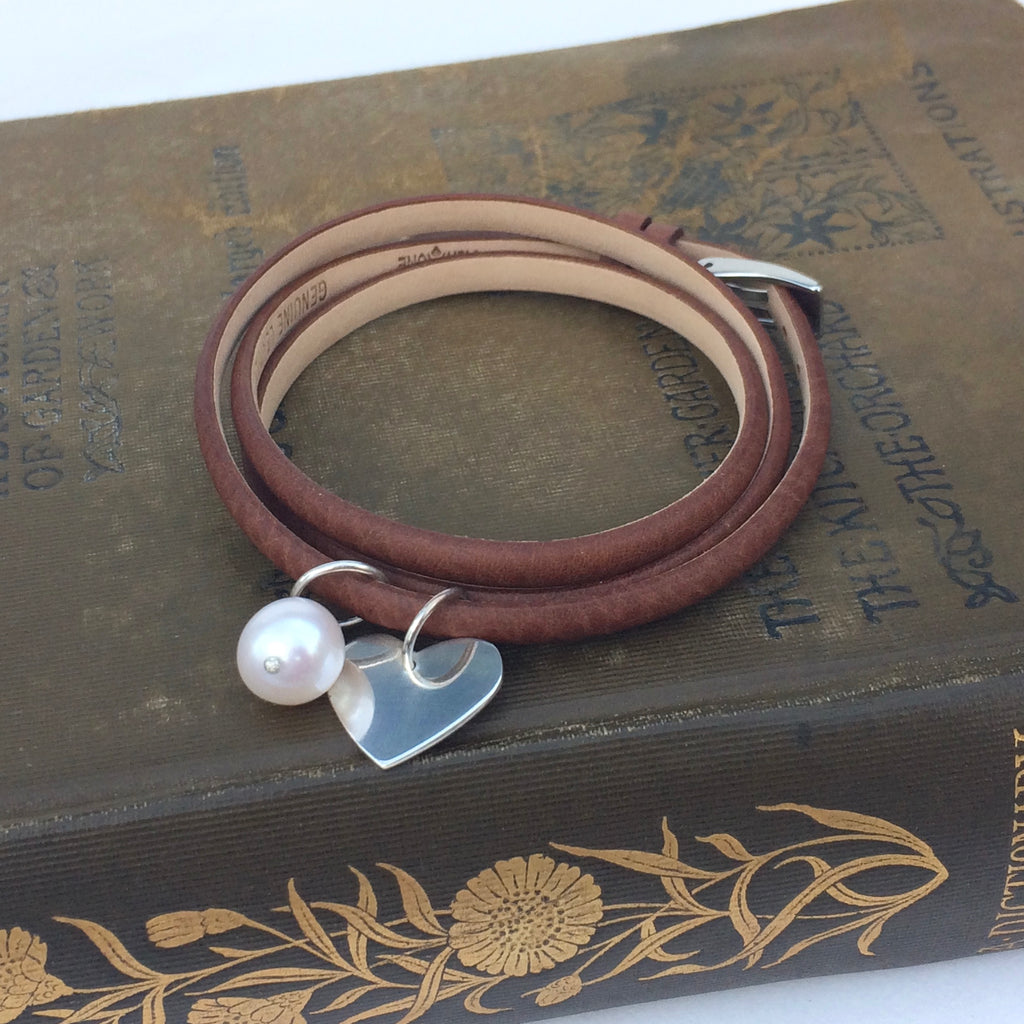 Brown Leather Wrap Bracelet with Freshwater Pearl and Sterling Silver Heart