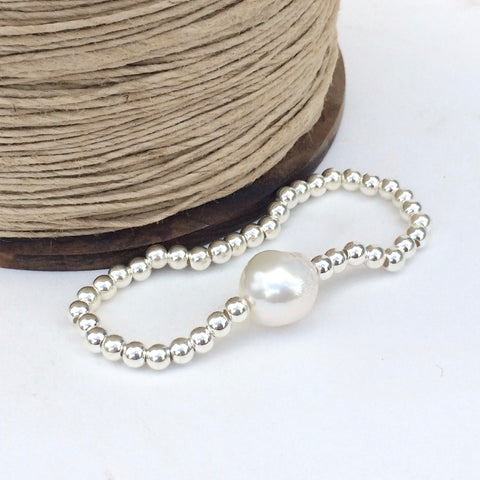 Chunky Sterling Silver Stretch Bracelet with large Freshwater Pearl