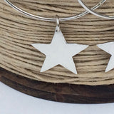 Sterling Silver Hoop Earrings with Large Smooth Sterling Silver Stars, handmade
