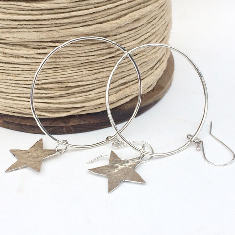 Large sterling silver hoop earrings with hammered sterling silver stars, handmade