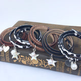 Brown Snakeskin Leather Wrap Bracelet with Freshwater Pearl and Sterling Silver Hammered Star