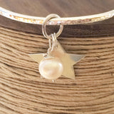 Chunky Sterling Silver Hammered Bangle with Star and Freshwater Pearl