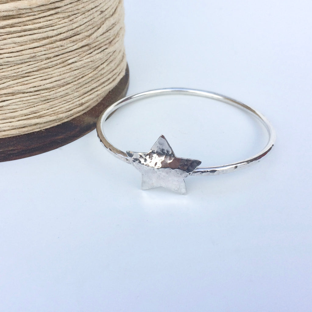 Chunky Silver Star Bangle, Hammered Finish, Handmade