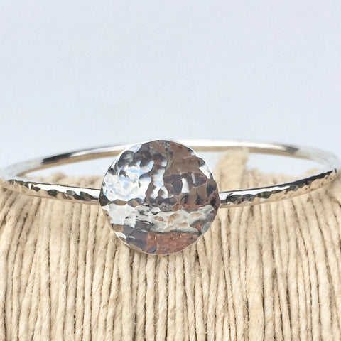 Chunky Hammered Silver Bangle with Silver Disc, Handmade
