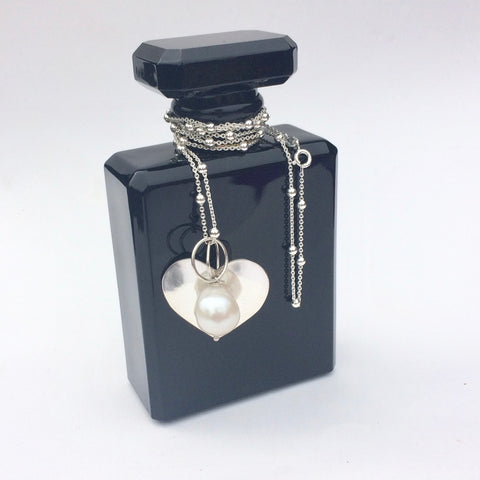 Long Pearl and Silver Heart Necklace - Handmade/Bespoke