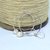 Large Hoop Earrings - Sterling Silver with Beautiful Pearl Drop