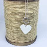 Sterling Silver Statement Heart Necklace on 45cm Silver Ball Chain