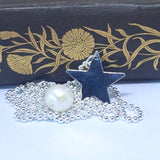 Long Sterling Silver Star and Pearl Necklace, 80cm