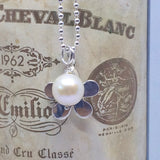 "Sterling Silver Daisy and Pearl Necklace on 45cm/18"" Ball Chain"