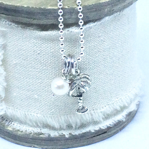 "Sterling Silver Pearl and Palm Tree Necklace on 45cm/18"" Ball Chain"