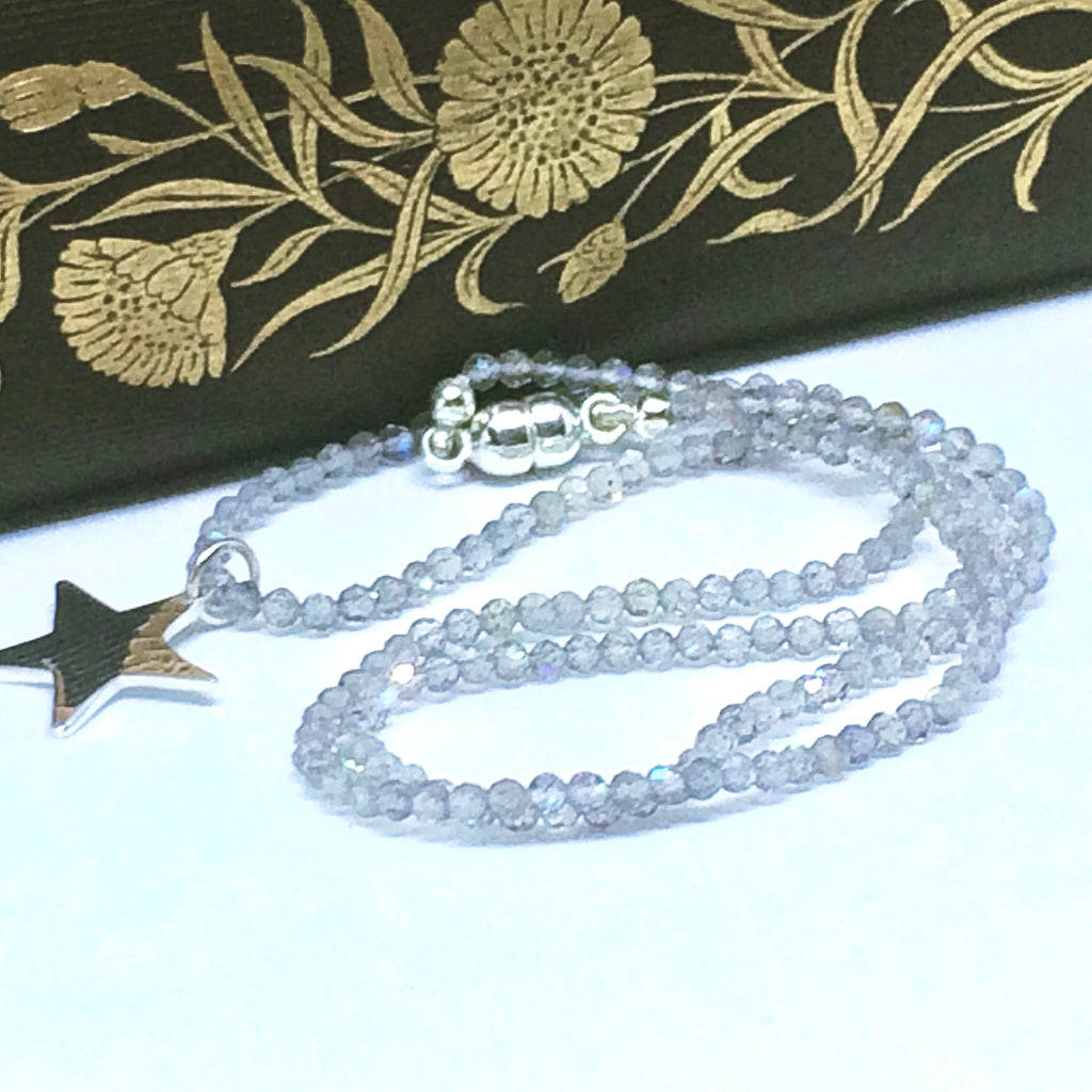 Sterling Silver Star and Grey Quartz Crystal Necklace (45cm)