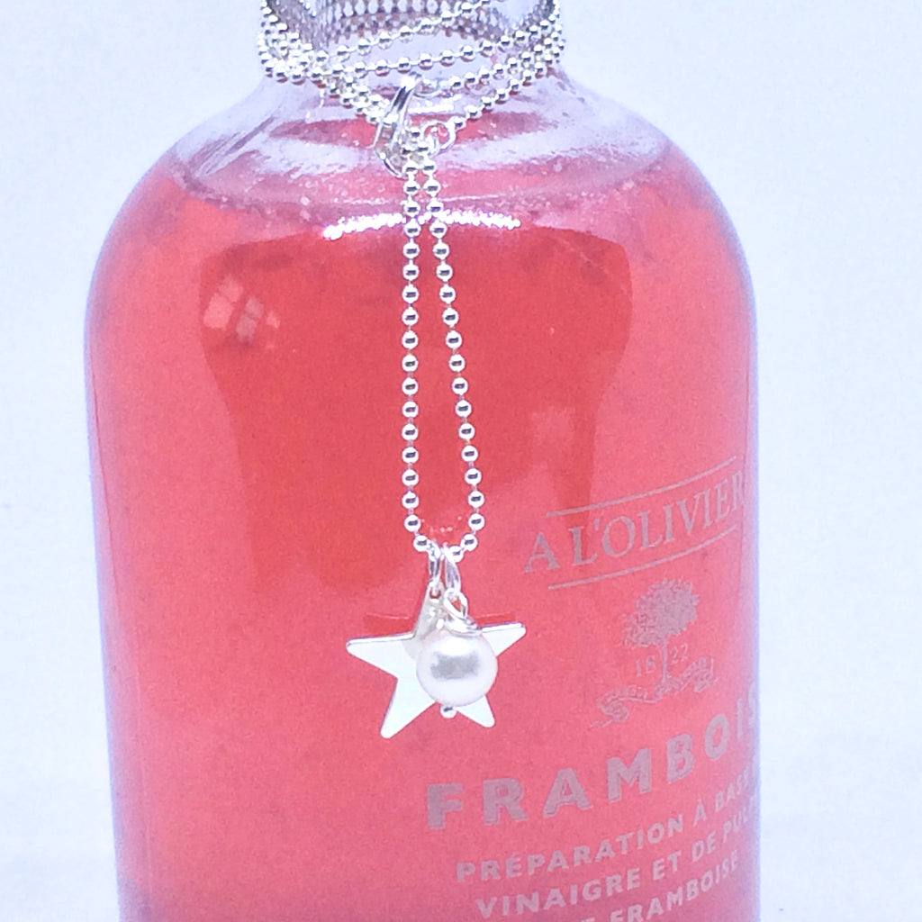 "Silver Star Pearl Necklace - Sterling Silver and Freshwater Pearl 18"" 45cm Ball Chain"
