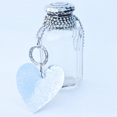 Sterling Silver Statement Heart Necklace on Silver Ball Chain