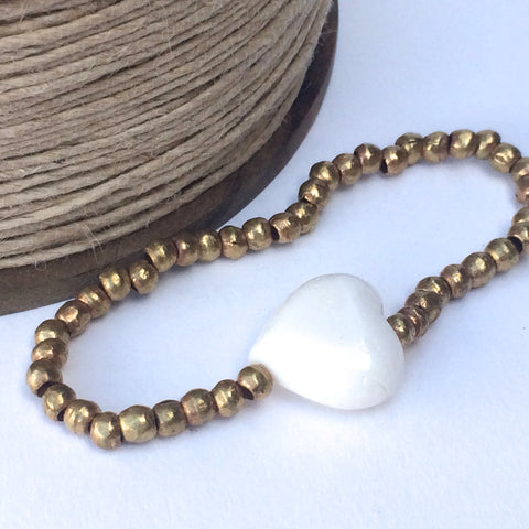 Brass Stretch Elasticated Bracelet with Creamy White Coral Heart