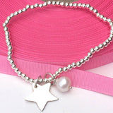 Sterling Silver Stretch Bracelet with Silver Star and Freshwater Pearl, Handmade