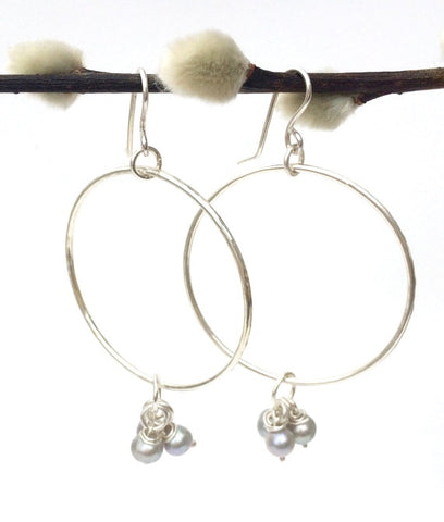Large Sterling Silver Hoops with 6 Grey Pearls