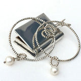 Sterling Silver Pearl Bangle - Silver Beaded Wire with Pearl Charm