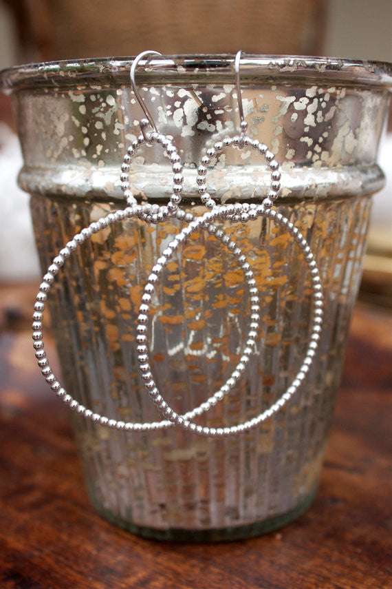 Sterling Silver Hoop Earrings - Beaded/Pearl Sterling Silver Wire