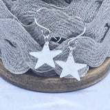 Sterling Silver Star Earrings Dangle Drop