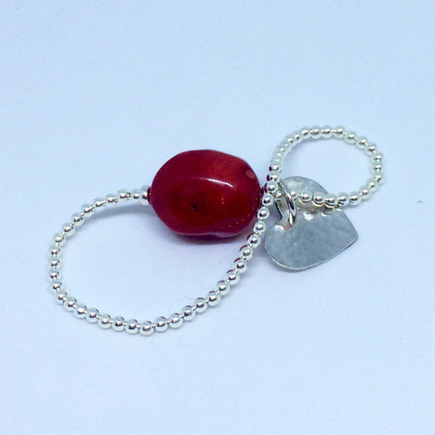 Sterling Silver Stretch Bracelet with Hammered Heart and Red Coral gemstone