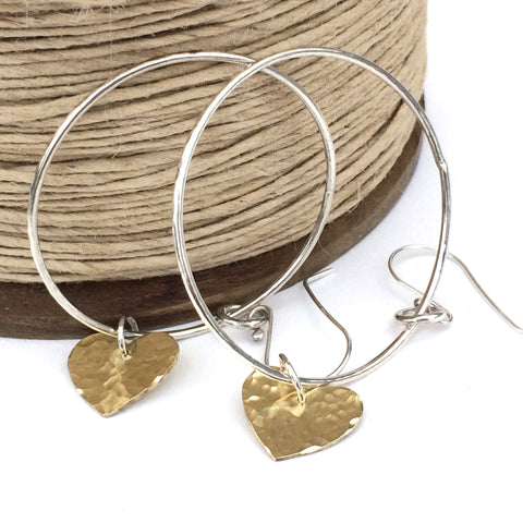Large Hoop Earrings, sterling silver with brass hammered hearts