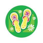 FLIP FLOPS ON GREEN Decorative Bathroom Sink Stopper Toppers