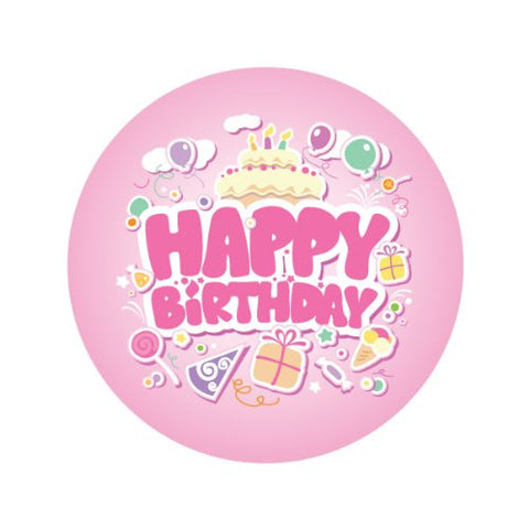 HAPPY BIRTHDAY IN PINK Decorative Bathroom Sink Stopper Toppers