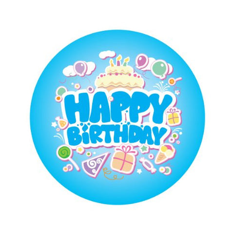 HAPPY BIRTHDAY IN BLUE Decorative Bathroom Sink Stopper Toppers