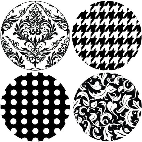 BLACK AND WHITE Collection Decorative Bathroom Sink Stopper Toppers