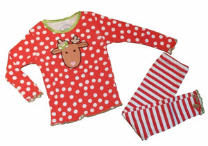Sara's Prints Little Girls' Christmas Pajamas Dot Stripes Reindeer, Red