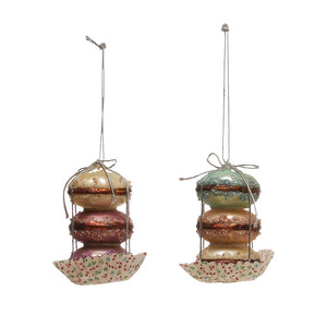 "3"" Stacked Macaron French Pastel Cookie Faux Food Ornament Set of 2"