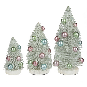 Mid West Christmas Light Green Bottle Brush Trees Pastel Balls Set of 3