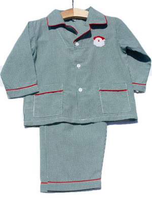 Santa Embroidered Green Gingham Checked Christmas Boys Pajamas