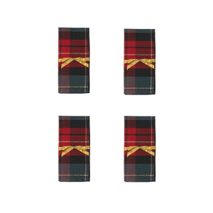 Regal Red Green Tartan Plaid Check Christmas Holiday Table Linens - 4 Cloth Napkins