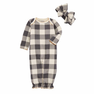 Mud Pie Kids Brown Buffalo Check Baby Sleeper Convertible Gown Headband Set